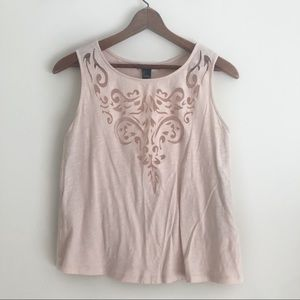 Forever 21 Blush Laser Cut Tank Top sz S ✨
